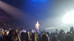 Justin Bieber's Purpose World Tour opening in Seattle; near the end he just stripped down.